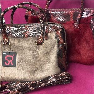 Sondra Roberts Faux Fur Satchels,NWT burg Or Taupe